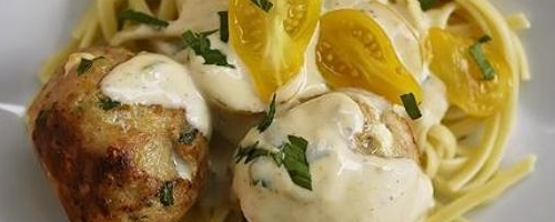 Turkey-feta Meatballs With Lemon Cream Sauce