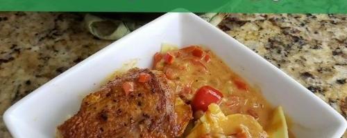 Chicken Paprikash Over Buttered Egg Noodles