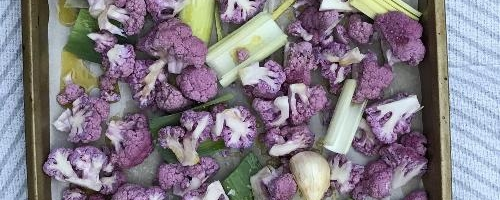 Roasted Purple Cauliflower And Leeks