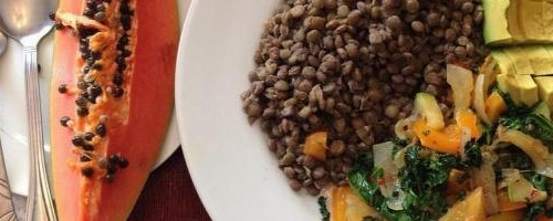 Boiled Lentils With Sauteed Kales