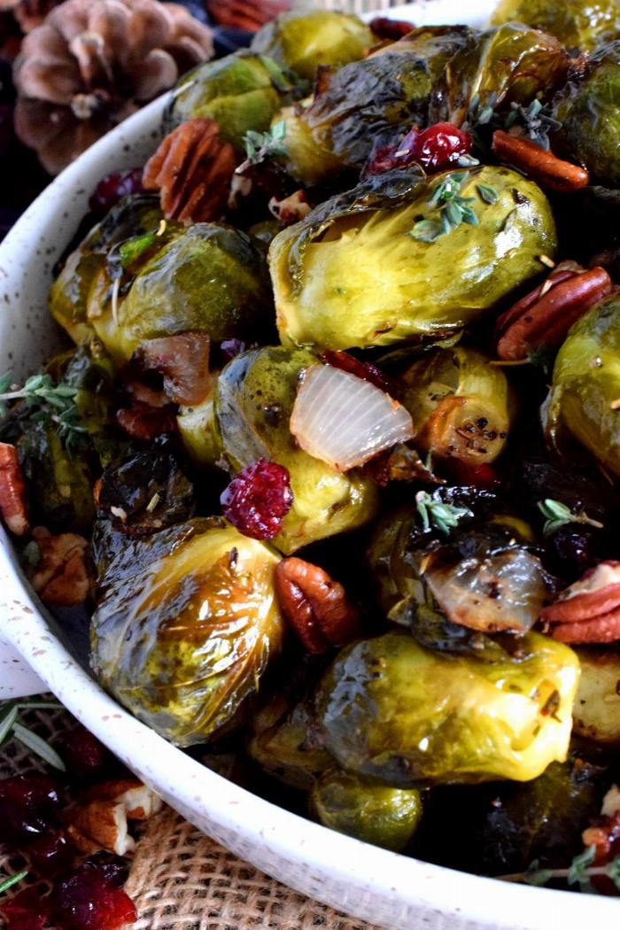 Roasted Brussel Sprouts With Pecans And Cranberries