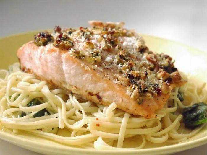 Pesto Salmon With Pasta Oglio Olio