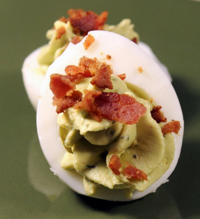 Avocado Bacon Deviled Eggs