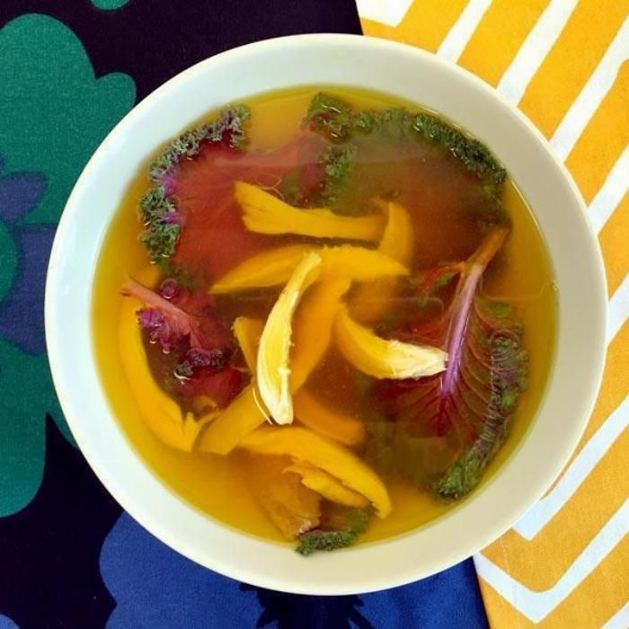 Turmeric Broth With Chicken And Kale