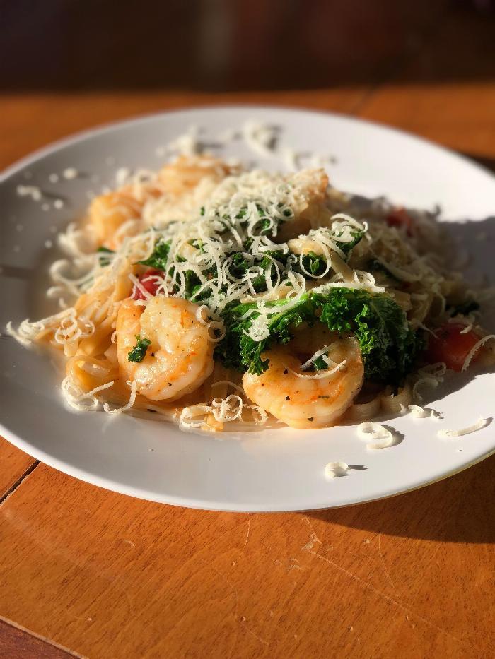 Bone To Broth Shrimp Fettuccini With Garlic Butter Sauce