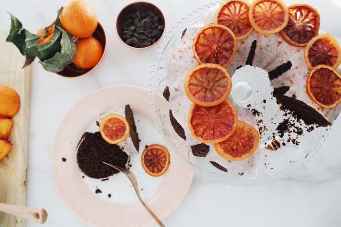 Chocolate Bundt Cake With Blood Orange Icing