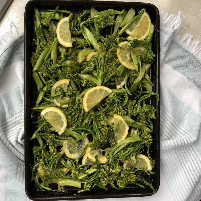 Non-dairy Cheesy Lemony Broccolini