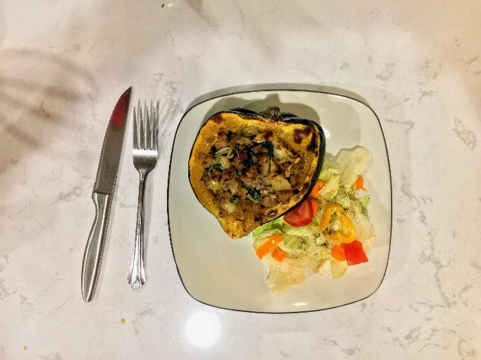 Acorn Stuffed Squash With Caramelized Onions & Apples
