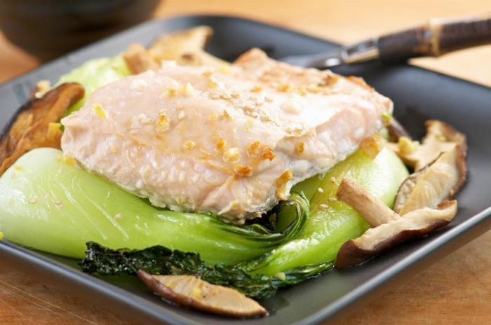 Salmon Marinated in Bulgogi, with Bok Choy and Mushrooms