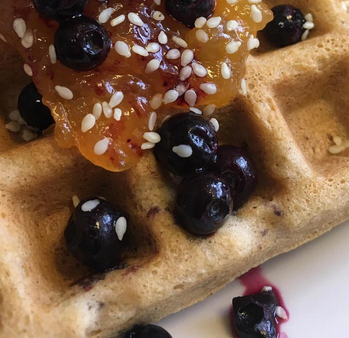 Tahini Apricot Waffles