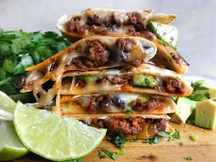 Reduced Fat Cheesy Beef Quesadillas