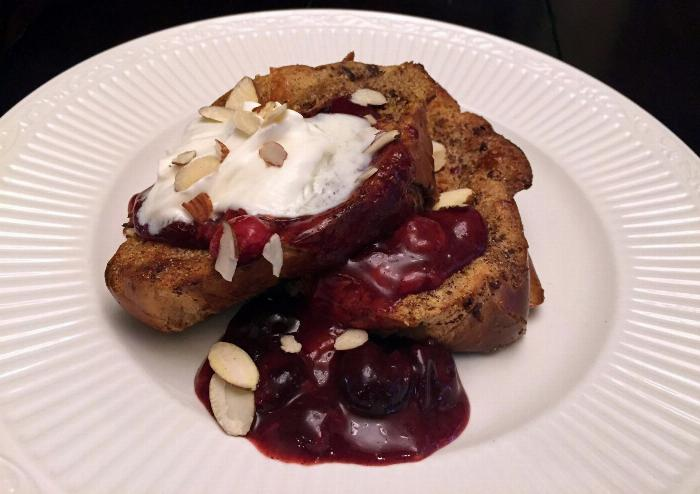 Cherry French Toast With Maple Creme Fraische