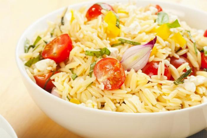 Orzo with Shrimp, Vegetables and Pesto Vinaigrette
