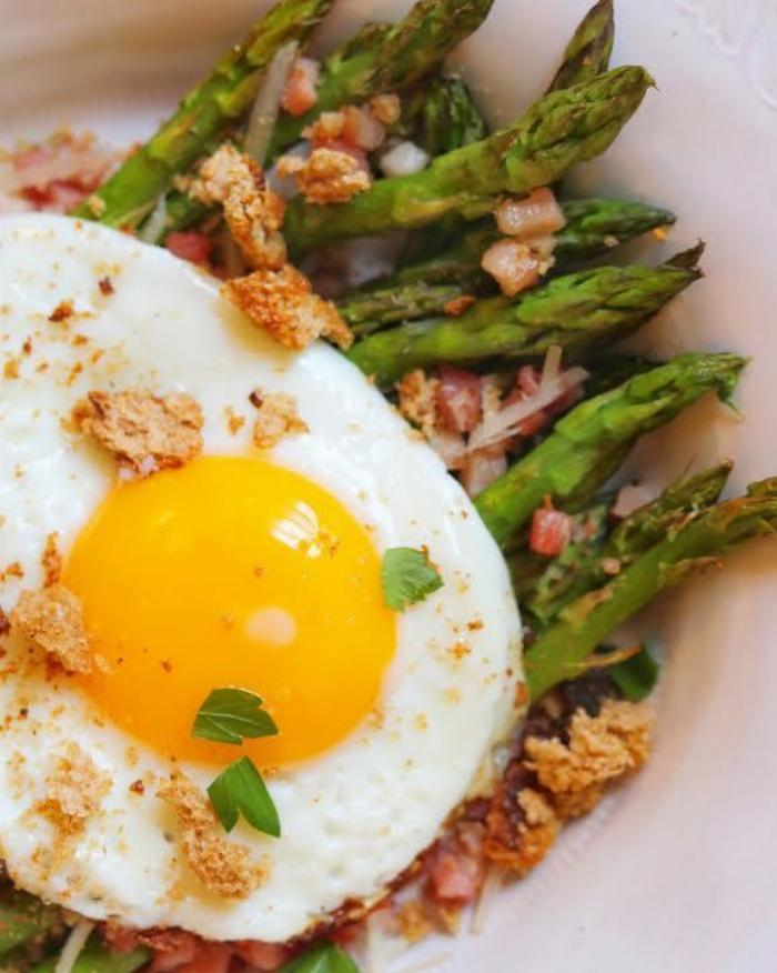 Asparagus Hash With Pancetta And Homemade Breadcrumbs