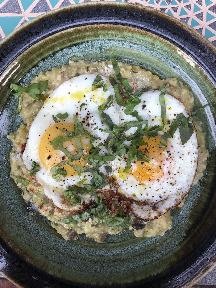 Savory Oatmeal With Grated Zucchini And Eggplant