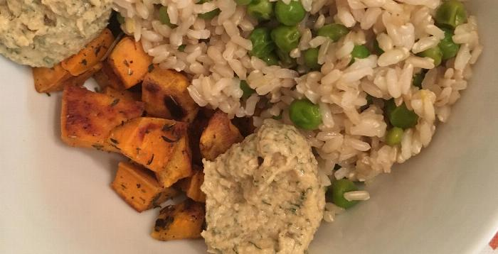 Lemon Dill Tahini Rice With Sweet Potatoes And Peas