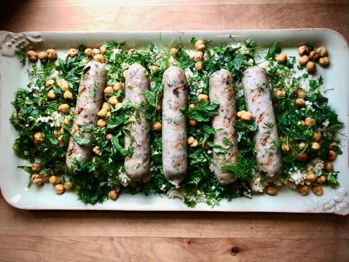 Herby Couscous With Sausages, Spinach And Za'atar Chickpeas