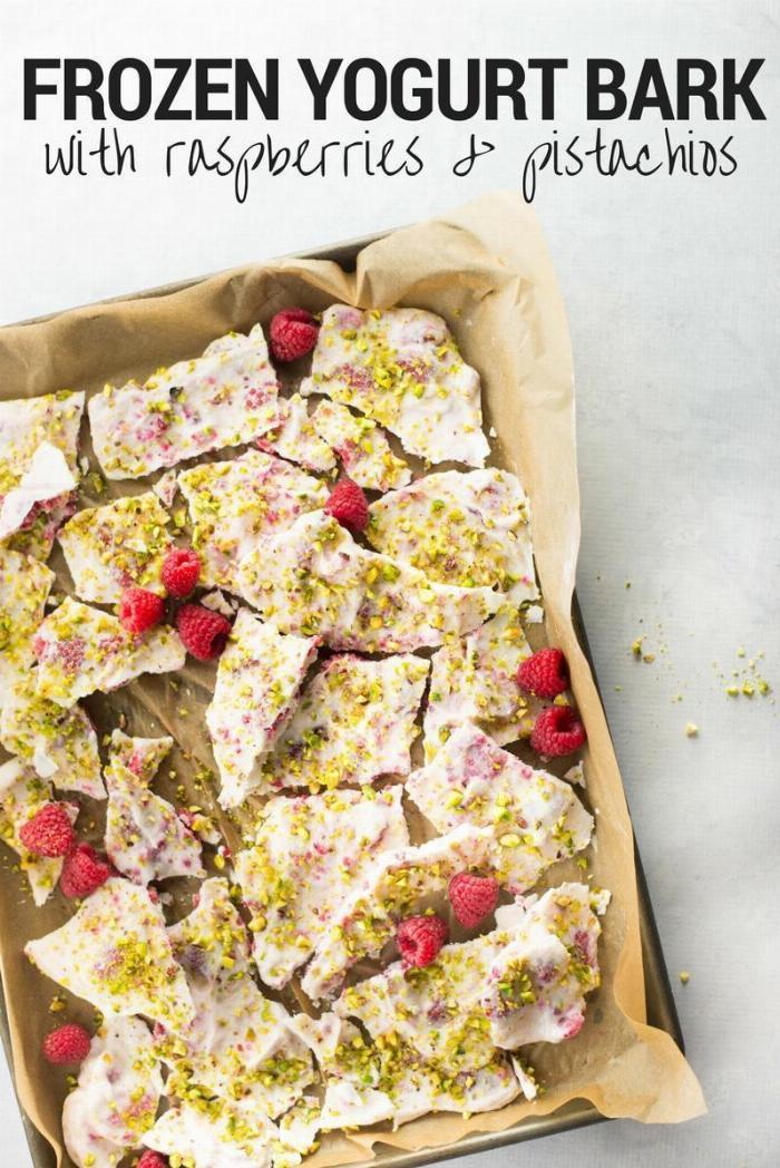 Frozen Greek Yogurt Bark With Raspberries And Pistachios