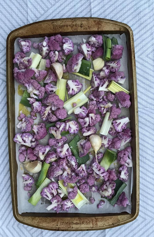 Roasted Purple Cauliflower And Leeks