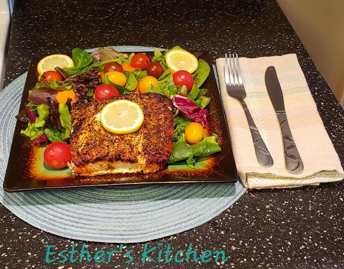 Baked Salmon With Spring Mix Salad And Cherry Tomatoes