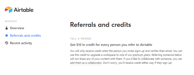 Screenshot of Airtable referrals and credits page