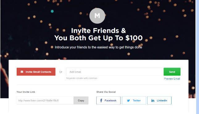 Screenshot of Fiverr's referral program invitation tool