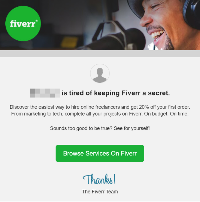 Fiverr's referral program email
