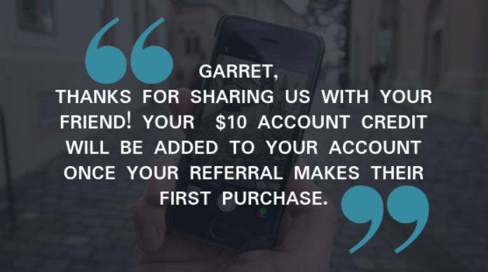 Referral program thank you quote