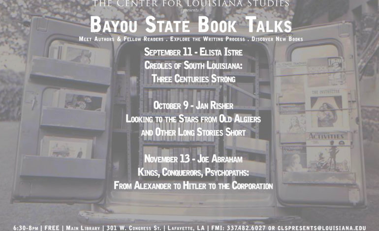 Fall 2018 Bayou State Book Talks resume