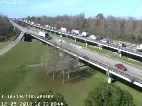 I-10 Westbound near Atchafalaya Basin closed due to accident