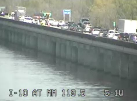 Left Lane of I-10 Eastbound Near Atchafalaya River Blocked