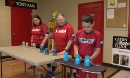 Family Represents USA In Cup Stacking Competition