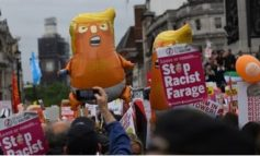 Protesters flood London streets as Trump meets Theresa May