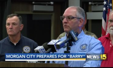 Gov. John Bel Edwards in Morgan City prepaing for Barry