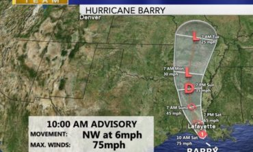 Barry upgraded to a Category 1 Hurricane