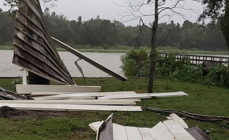 Calumet carport roof blown off