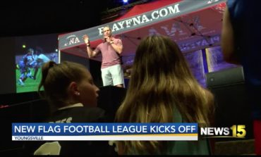 Drew Brees Supported Flag Football Kick-Off
