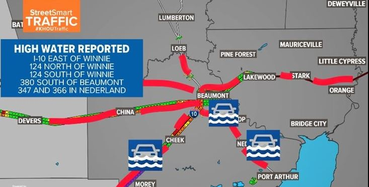 I-10 Closed In Both Directions Between Winnie And Beaumont Due To Flooding