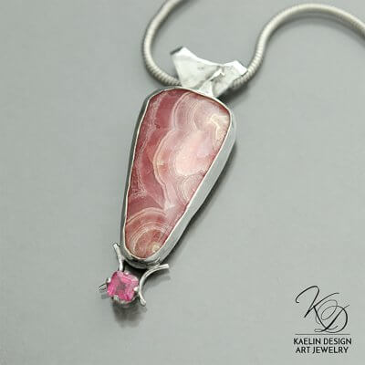Rhodochrosite and Ruby Pretty in Pink Pendant