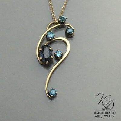 All the Stars Blue Diamond Fine Art Jewelry Pendant by Kaelin Design