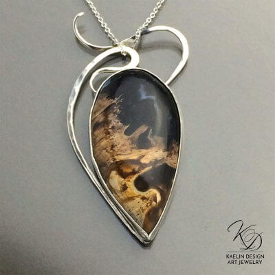 Wisp Fine Art Pendant by Kaelin Design in Petrified Palmwood and Sterling Silver