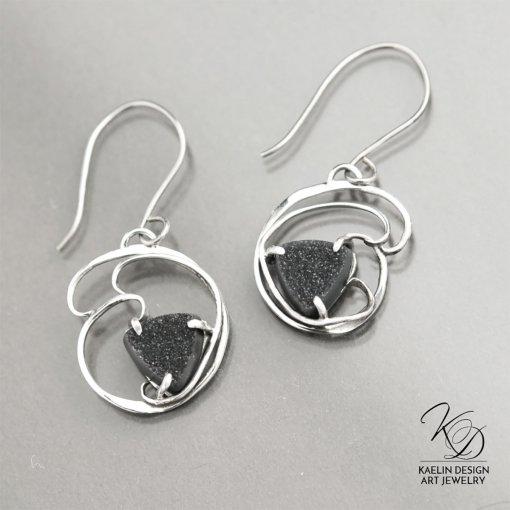 Shadows Black Druzy Fine Art Earrings by Kaelin Design