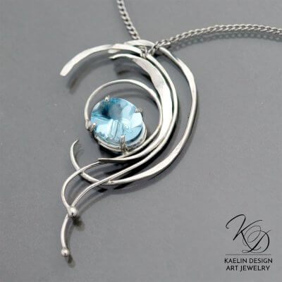 Water's Peak Fine Art Jewelry Topaz Pendant by Kaelin Design