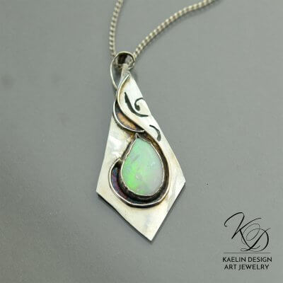 Opal Flight Fine Art Jewelry Pendant by Kaelin Design
