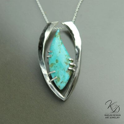 Captured Turquoise Art Pendant by Kaelin Design