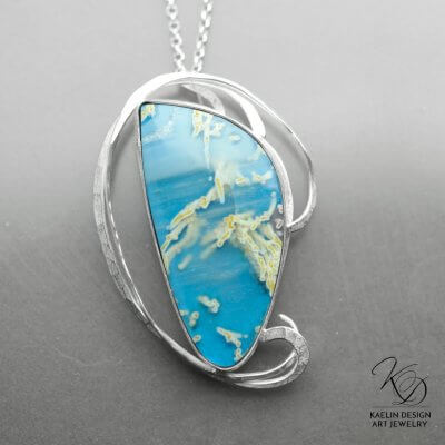 Seashore Blue Agate Fine Art Pendant by Kaelin Design