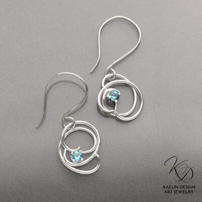 Elegant Fine Jewelry 'Cresting Waves' Blue Topaz Earrings by Kaelin Design