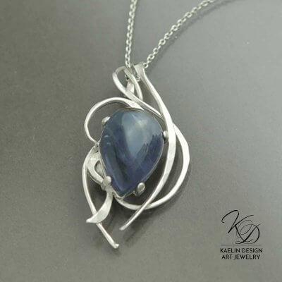 Rising Storm Amethyst Art Jewelry Pendant by Kaelin Design