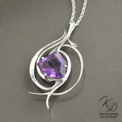 Tempest in Amethyst fine art jewelry pendant by Kaelin Design
