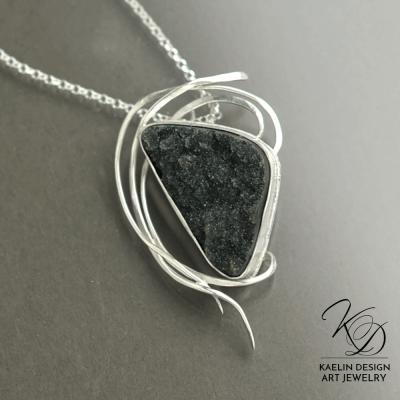 Gathering Storm Black Druzy Art Pendant by Kaelin Design